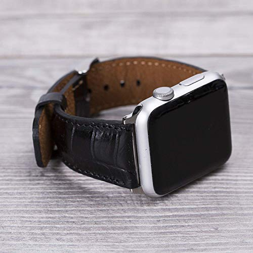 Croco Pattern Black Leather Apple Watch band, 42mm, 38mm, 40mm, 44mm for series 1-2-3-4