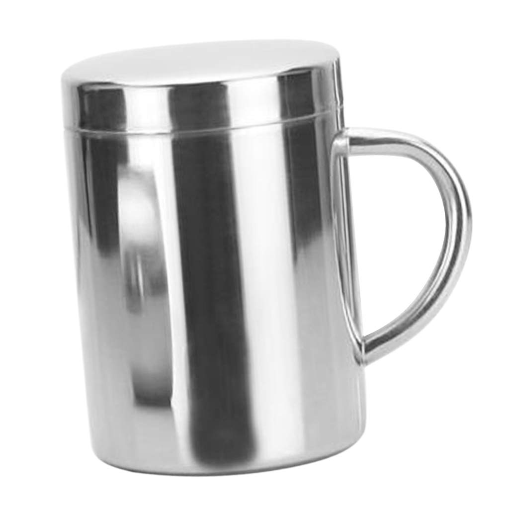Prettyia Double Wall Beer Mug Stainless Steel Wine Cup Insulate Outdoor Camping Mug - 220/300/420ml Tumbler for Office,Travel and Home - 300ml