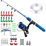 ice fishing rod combo - Kids Fishing Pole,Light and Portable Fishing Rod and Reel Combos Telescopic Fishing Rod for Youth Fishing by PLUSINNO (Bluehandle 150cm)