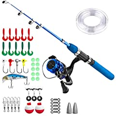 Kids fishing rod and reel combos included: 1 x Telescopic fishing rod 1 x Light weight spinning fishing reel 1 x fishing lure set Child's Fising Pole Detail: Material:FRP,EVA,Plastic. Size 1.5M 4.92Ft/Size 1.15M 3.94Ft Weight:size 1.5m 75.7g=...