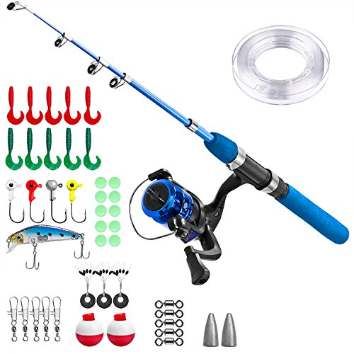 Kids Fishing Pole,Light and Portable Fishing Rod and Reel Combos Telescopic Fishing Rod for Youth Fishing by PLUSINNO (Bluehandle 150cm)