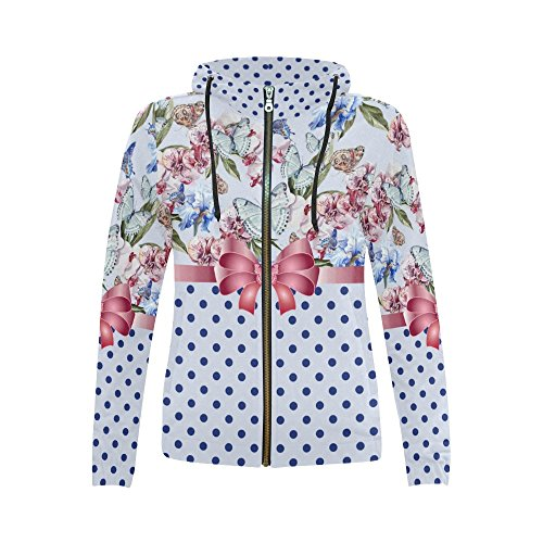 InterestPrint Flowers Butterflies Ribbon Print Full Zip Hoodie Sweatshirt for Women Flowers Butterflies Ribbon B Large ()