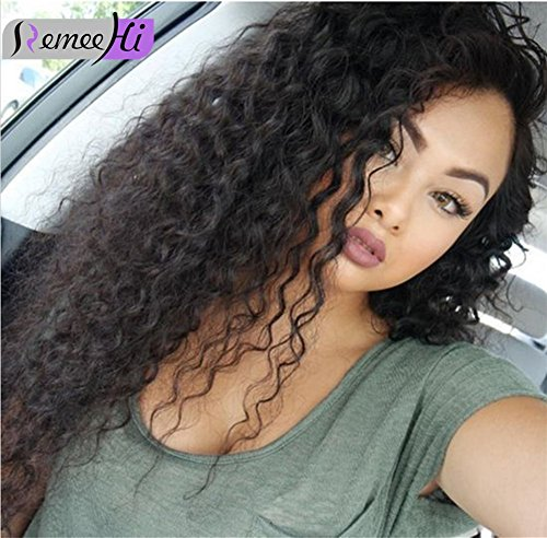 Remeehi 130% Density Natural Curly Lace Front Wigs Human Hair 100% Brazilian Human Hair Lace Wigs Natural 18inch 4# Medium Brown