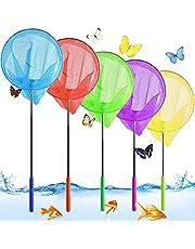 Vlindernet voor kinderen, set van 5 stuks, telescopisch kinderschepnet, klein vangnet voor buiten, uittrekbaar tuinvlinder speelgoed, visnet uittrekbaar, zwembad outdoor visnet