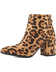 Womens Ankle Chunky Heel Pointy Toe Boot - Snakeskin Comfortable Thick Block Heel Zip Bootie Boots