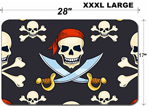Luxlady Large Table Mat Non-Slip Natural Rubber Desk Pads IMAGE ID: 34258795 Cartoon vector hand drawn pirate skulls seamless pattern Halloween backg]()