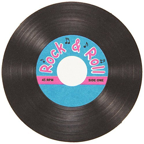 Rock & Roll Record Coasters Party Accessory (Value Pack: 24 Count) -