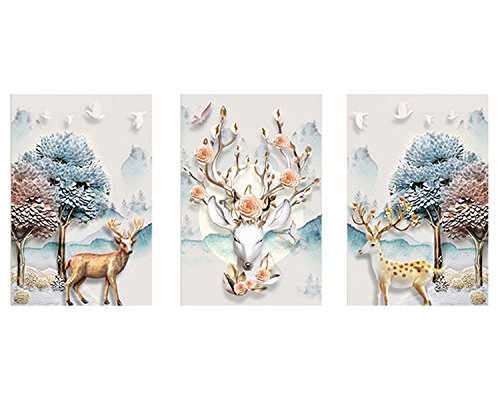 ZEJEUER 5D DIY Diamond Painting Elk Handmade Embroidery Home Dcor Pack Of 3