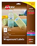 Avery Durable Wraparound Water Bottle Labels, 1-1/4 x 9-3/4 Inches, Pack of 40 (22845)