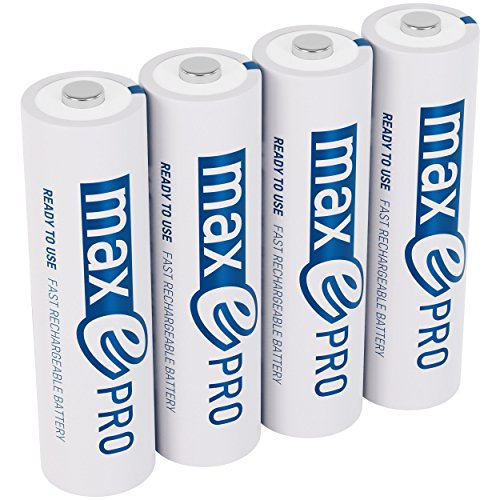 ANSMANN maxE Pro AA Rechargeable Batteries 2000mAh Low Self-Discharge (LSD) AA Batteries pre-charged for remote, controller, flashlight etc. (4-Pack) + Battery Box