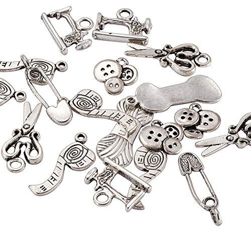 Pandahall 5Sets DIY Sewing Knitting Themed Tibetan Style Alloy Pendants, Scissor, Pipe, Safety Pin, Yarn Clew, Button, Sewing Machine Charms, Lead Free, Antique Silver, 6pcs/Set