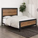 WE Furniture Rustic Headboard Queen Bed, Oak