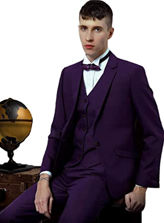 Mens Slim Fit Solid Wedding 3 Piece Suit Grooms Formal Prom
