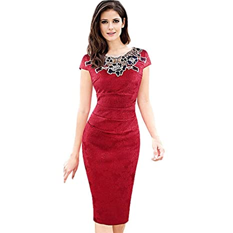 Amazon.com  Elegant Women Bodycon Pencil Dress Embroidered Vintage ... 8fffaffb0