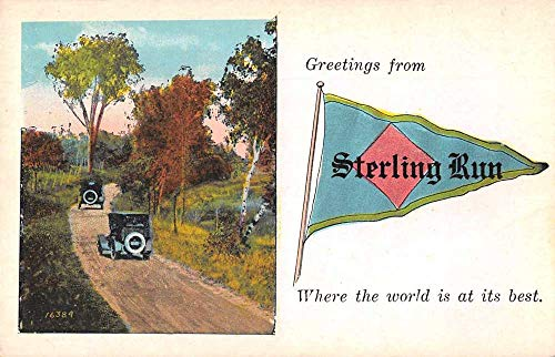 Sterling Run Pennsylvania ? Greetings Pennant Flag Cars Postcard JE229622