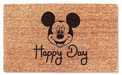 Happy Day Welcome Door Mat Mickey Disney Funny Easy Clean Disneyworld Front Door Entry Rug - Smile Gift Present for House Warming Wedding Birthday Holiday Christmas Doormat (Door Coir Christmas Mat)