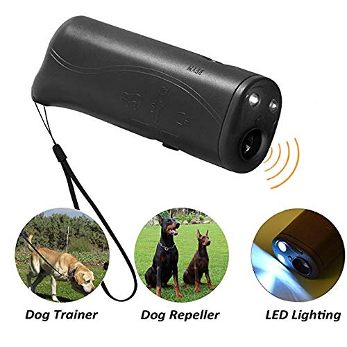 Electronic Sonic Dog Repeller, Handheld Ultrasonic Dog Repellent with LED Flashlight, Anti Barking Device & Dog Trainer
