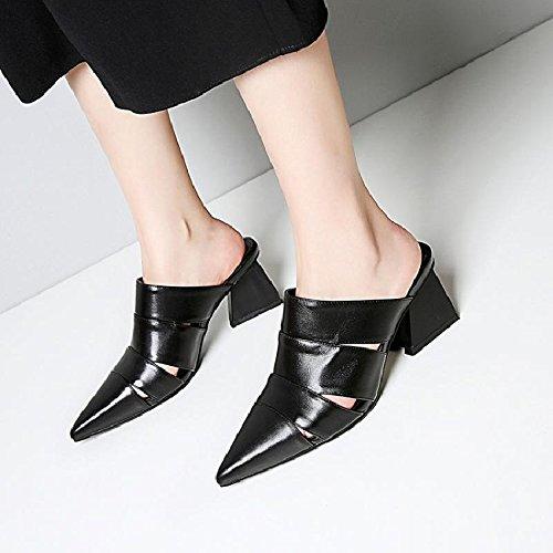 A Pantofole Baotou In Traspiranti Punta Estate da donna Sandali Scarpe black Fannullone Scarpe HBDLH Scarpe Le Cuoio wgq71z0