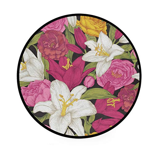 A Seed Round Rug Mat Area Pad Floor Mat Floral Flowers Lily for Bedroom Living Room Diameter 3 Feet (Rug Area Lily Pad)
