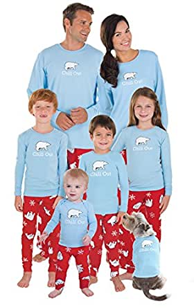 PajamaGram Cotton Chill Out Matching Family Pajamas, Men X-Large, Red and Blue