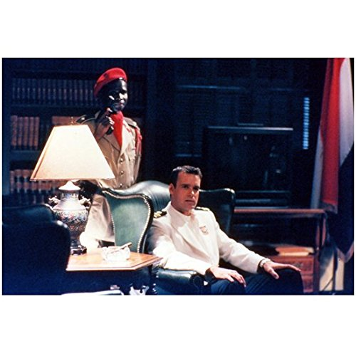 JAG David James Elliot as Harmon Rabb Jr. Seated in Chair with Man Behind 8 x 10 inch photo