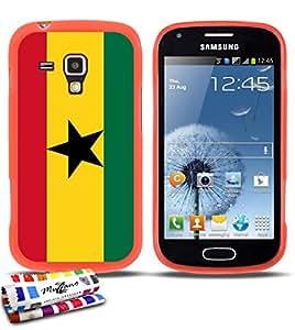 Carcasa Flexible Ultra-Slim SAMSUNG GALAXY S DUO de exclusivo motivo [Ghana Bandera] [Naranja] de MUZZANO  + ESTILETE y PAÑO MUZZANO REGALADOS - La Protección Antigolpes ULTIMA, ELEGANTE Y DURADERA para su SAMSUNG GALAXY S DUO