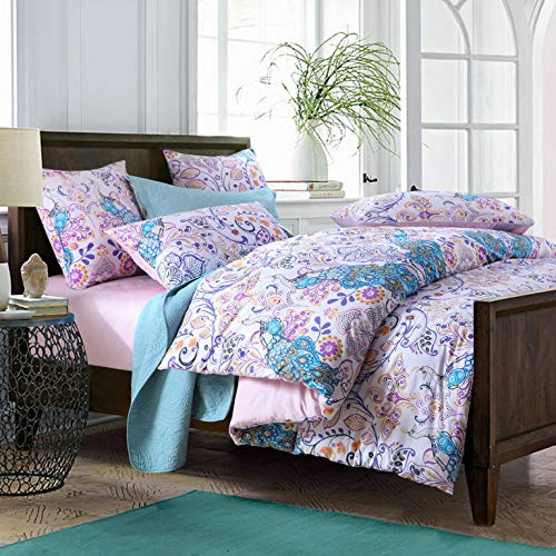 Softta Peacock Bedding Set King 3Pcs Damask Duvet Cover Paisley Pattern Bedding Boho Style Bohemia 100% Egyptian Cotton 800 Thread Count Blue White Purple Orange Bedding -