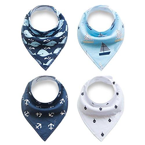 4 baberos de algodón para bebé de doble capa, impermeables, triangulares, para baberos, dientes, necesidades especiales y...