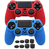 Pandaren STUDDED Anti-slip Silicone Cover Skin Set for PlaySation 4 controller(controller skin x 2 + FPS PRO Thumb Grips x 8)(Red,Blue)
