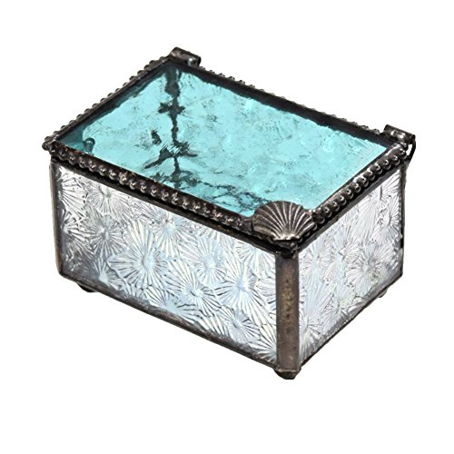 amarine Blue Glass Box with Sea Shell Embellishment Keepsake Jewelry Display Trinket Box Coasta lDecor (Marine Keepsake Box)