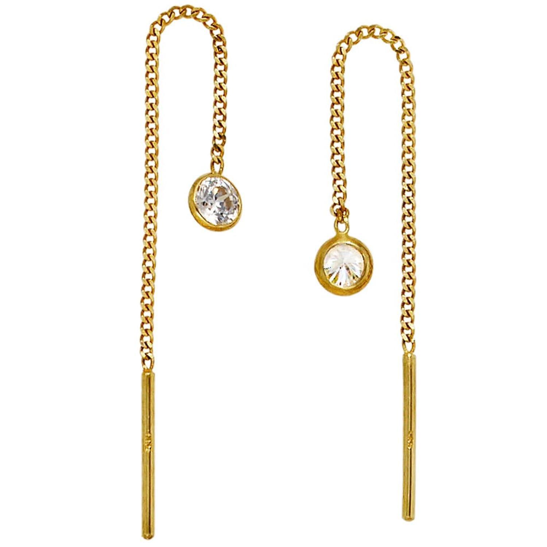 Ohrringe gold  JOBO Durchzieh-Ohrhänger 333 Gelbgold 2 Zirkonia Gold-Ohrringe ...