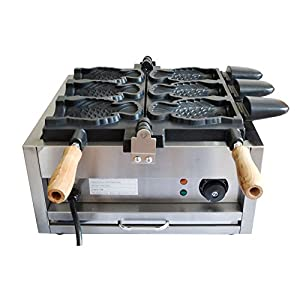 110V Commercial Nonstick Electric 3pcs Fish Waffle Ice Cream Taiyaki Maker