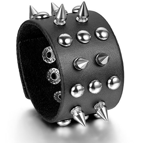Flongo Piercing Studded Leather Bracelet