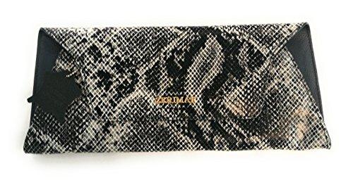 Zerimar Cartera Mujer | Piel Alta Calidad |Bolso Señora | Bolso de Mano | Bolso Grande | Bolso Pequeño | Múltiples compartimentos | Grabado Serpiente | Medidas: 33 x 15 cms Negro