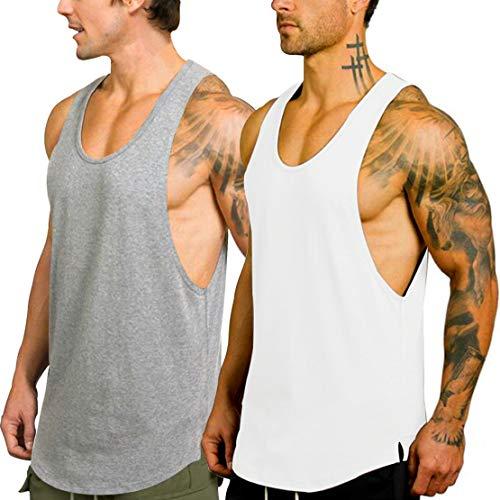 KingJoze Men's Stringers Bodybuilding Tank Tops Sleeveless Muscle Shirts Yoga Fitness Vest (2 Pack(White+Gray), -