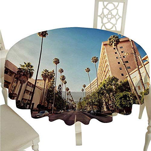 (cashewii Urban Flow Spillproof Fabric Tablecloth A Street in Beverly Hills California Palm Trees Houses Famous City Photo Great for Buffet Table D36 Pale Blue Peach Green)