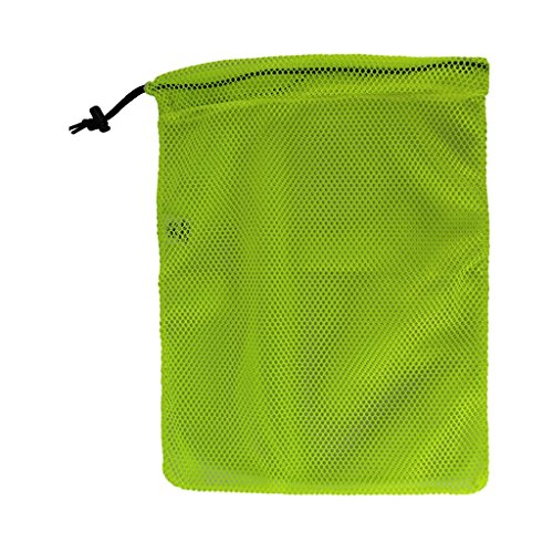 (SGT KNOTS Mesh Bag USA Made (Small) 550 Paracord Drawstring Bag - Ventilated Washable Reusable Stuff Sack for Laundry, Gym Clothes, Swimming, Camping, Diving (12 inch x 15 inch - Neon Yellow))