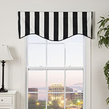 Amazon Com Rlf Home Awning Stripe M Shaped Valance Grey