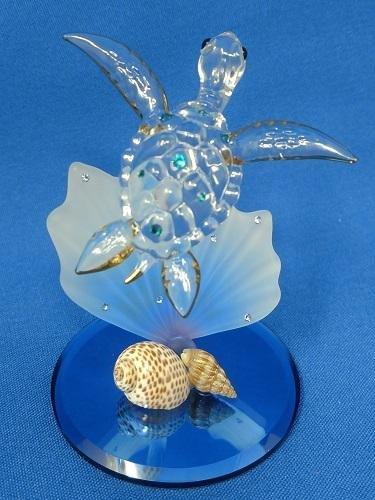 Glass Baron Sea Turtle with Blue Coral Figurine