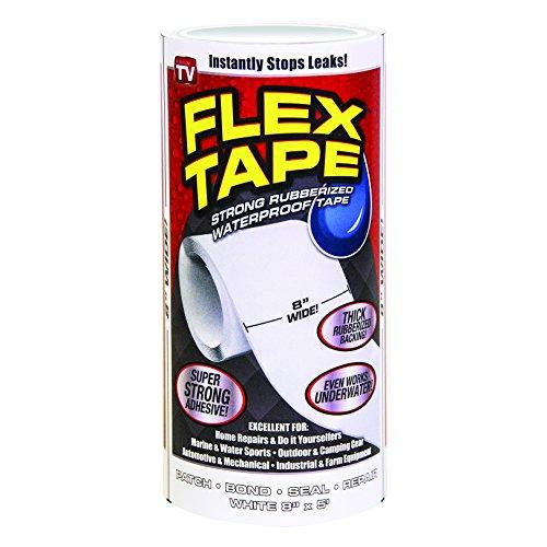 Flex Tape Rubberized Waterproof Tape, 8' x 5', White