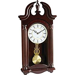 BNFUSA HHWC46 Kassel Quartz Pendulum Wood Frame Wall Clock Plays Melody
