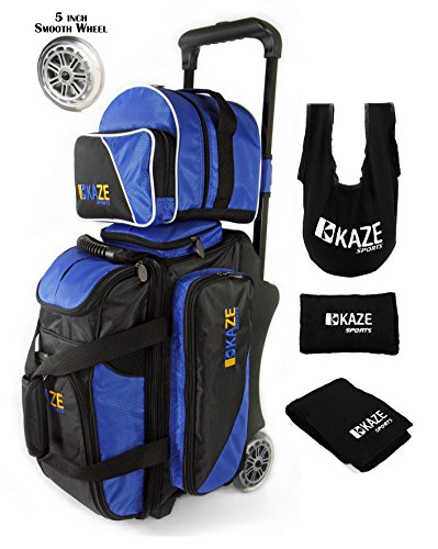 KAZE SPORTS 2 Ball Bowling Roller with Color Match Add On Spare Tote and Accessories Pack (Blue)