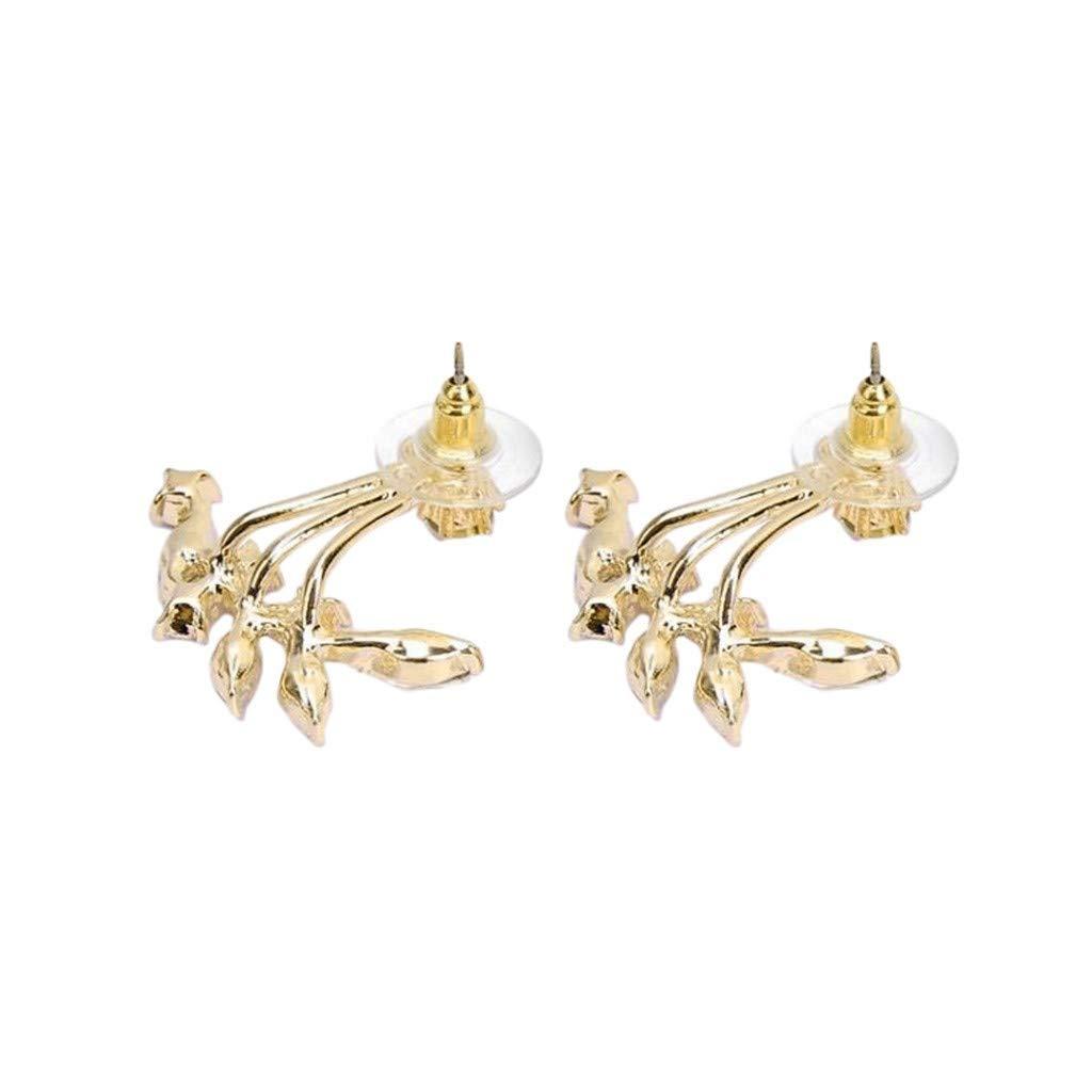 Bravetoshop Hoop Earring for Women Fashion Statement Gold Plated Leaf Crystal Ear Jacket Double Sided Swing Stud Earrings Jewelry Set Girls Gifts