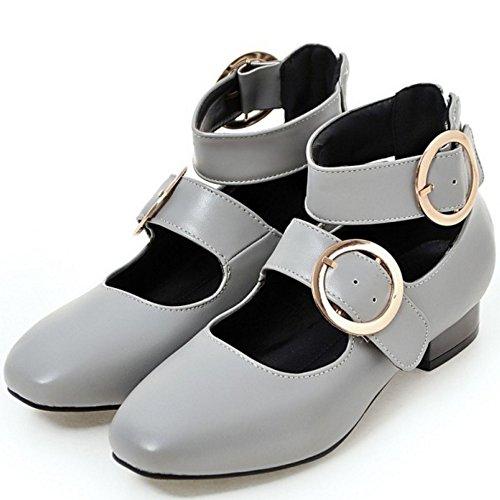 Femmes Chaussures Jane Talon Cheville Bas COOLCEPT Chaussures Mode Mary Vintage Gris 7nwqddOUx