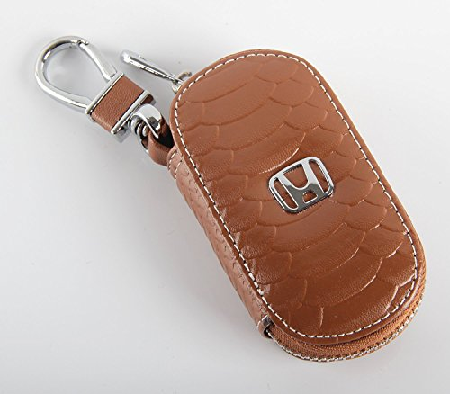 Key chain Bag Oval fish scale stripes Genuine Leather Ring Holder Case Car Auto Coin Universal Remote Smart Key cover Fob Alarm Security Zipper keychain Wallet Bag (Brown, Honda) (Key Leather Ring Auto)