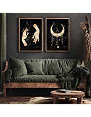 Abstract Celestial Posters Wall Art Canvas Painting Moon Pictures Minimalism with Hand Prints Gallery Boho Decoration