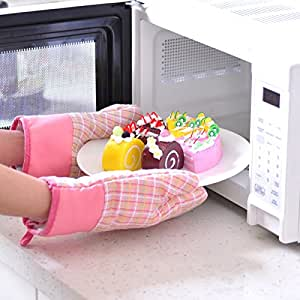 1Pair Long Oven Gloves 2015 Fashion Rural Style Kitchen Microwave Oven Mitts Grid Print Heat Resistant Gloves Long Oven Gloves
