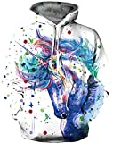 KIDVOVOU Kids Girls Rainbow Unicorn Print Pullover Hoodies Sweatshirt,3D Painting Unicorn,11-12 Years