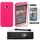TPU Cover Skin with Attached Screen Guard For HTC ONE M7 4.7-inch Super LCD 3 (NEWEST 2013 VERSION) + Screen Protector + Bluetooth Speaker