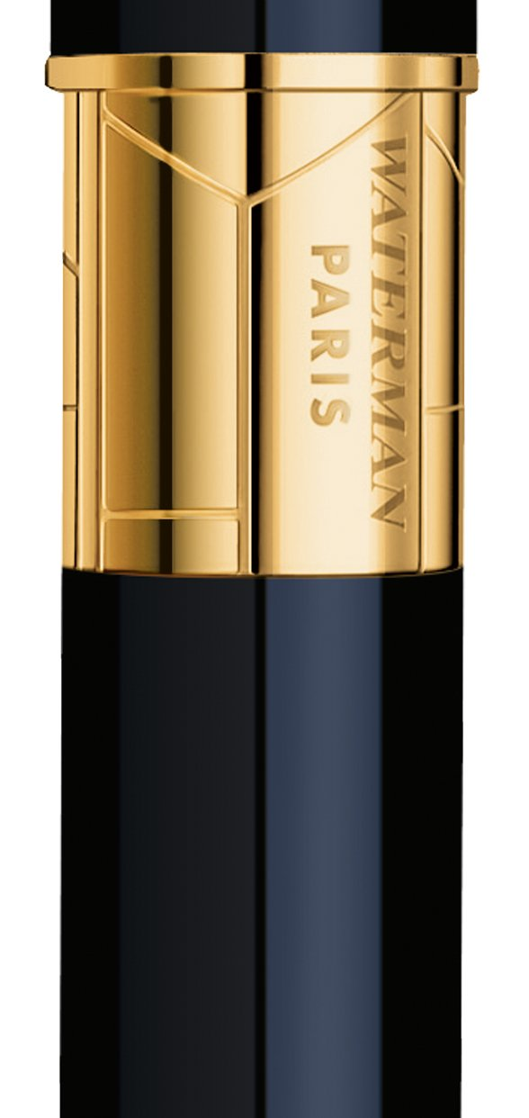 Waterman Perspective Black with Golden Trim, Rollerball pen with Fine Black refill (S0830860) by Waterman (Image #1)